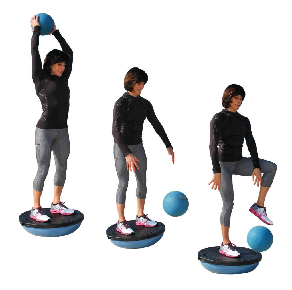 Medicine Ball Bounce on a BOSU with Single Leg Option. Photo by Gretchen M. Ashton